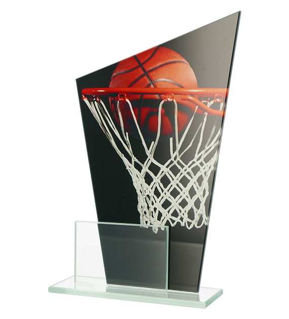 Glass award - two glass panels – basketball DG1 BAS 1