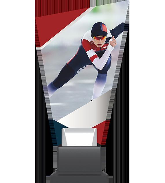 Glass trophy on a plastic base - Speed skating CP02 SKT 1