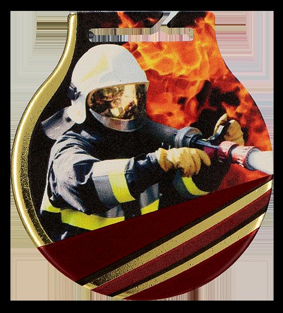 Stahl-Medaillen mit Aufdruck - Feuerwehrmann MC61/G/FIR 2