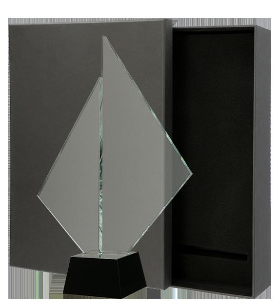 Glastrophäe mit Etui C071 6