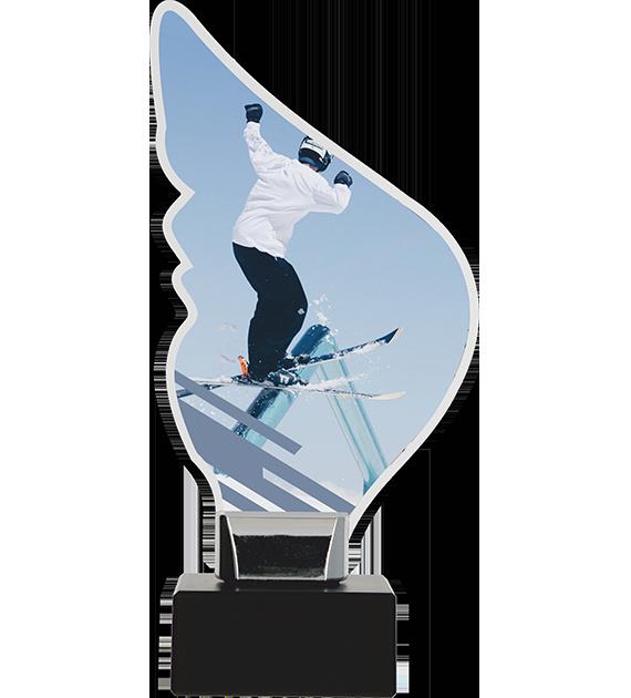 Trofeum z plexy na podwyższeniu - NARTY CP01-M/SKI3 1