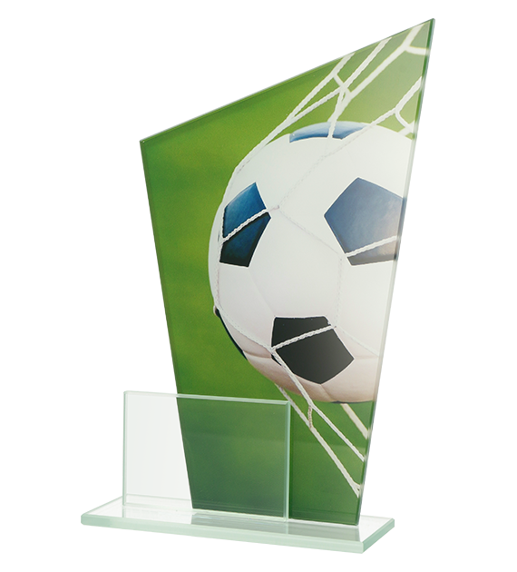 Glass award - two glass panels – football DG1 SOC 1