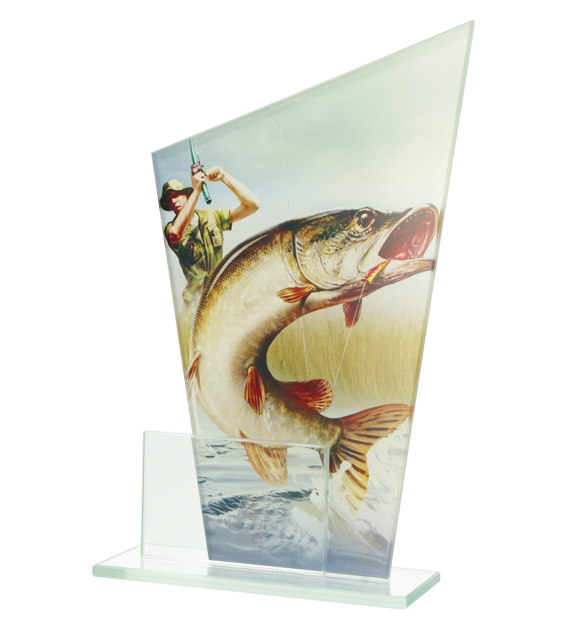 Glass award - two glass panels – fishing DG1 FIS 1