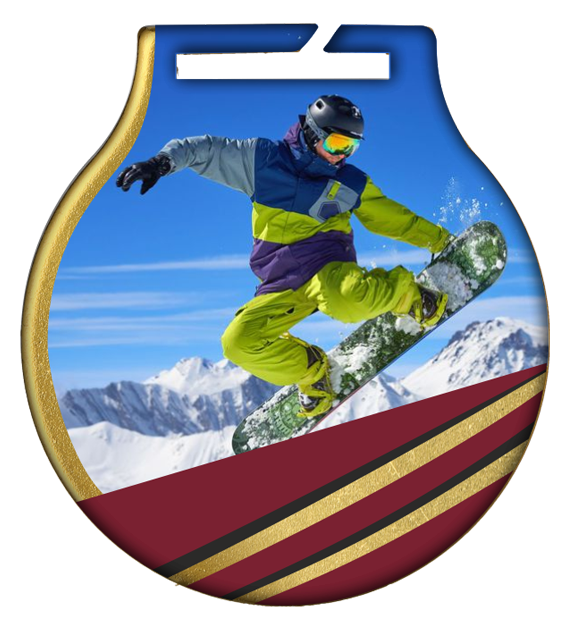 Steel medals with a colour print - Snowboarding MC61 SNO 2