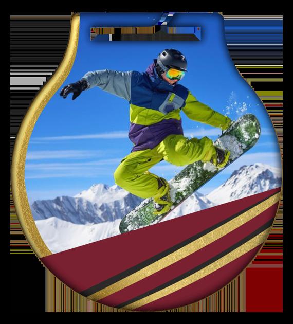 Medal stalowy z usługą Q - SNOWBOARD MC61 SNO 2