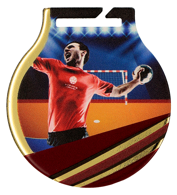 Steel medals with a colour print - Handball  MC61/G/HAN 1