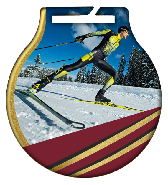 Steel medals with a colour print - Ski running MC61/G/SKI1 1