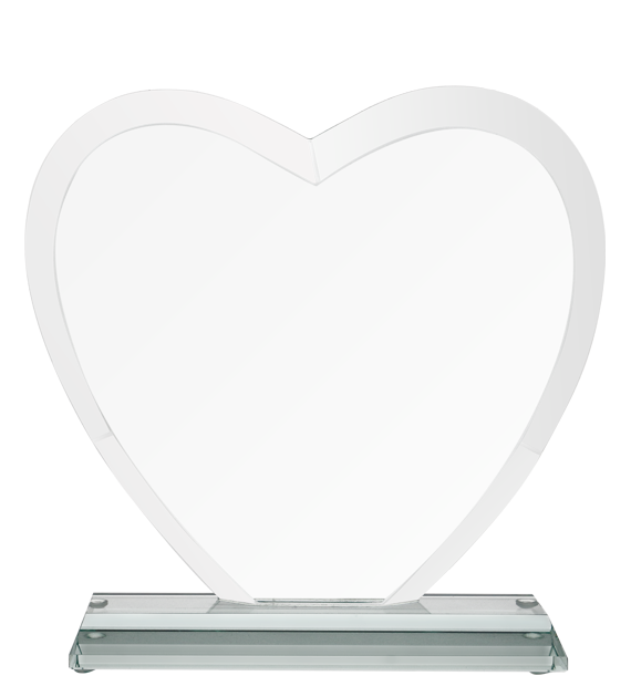 Glass trophy - heart with presentation box G031 2