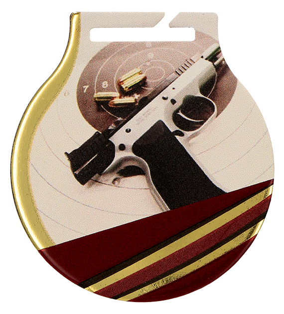 Steel medals with a colour print - Shooting, handgun  MC61/G/SHO1 1