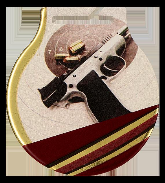 Medal stalowy z usługą Q - STRZELECTWO BROŃ KRÓTKA MC61/G/SHO1 1