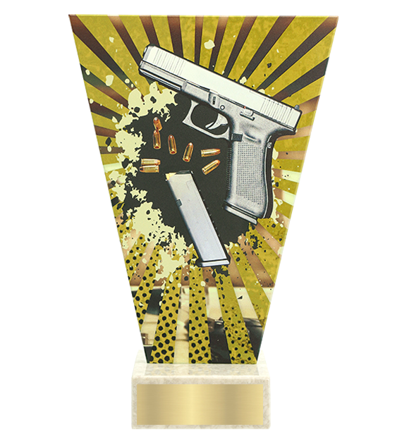 <span>Glass award  – shooting, handgun<span style='color:#ff0066; font-weight:800;'> - PRODUCTION UP TO 5 WORKING DAYS</span></span> VL2/SHO1 1