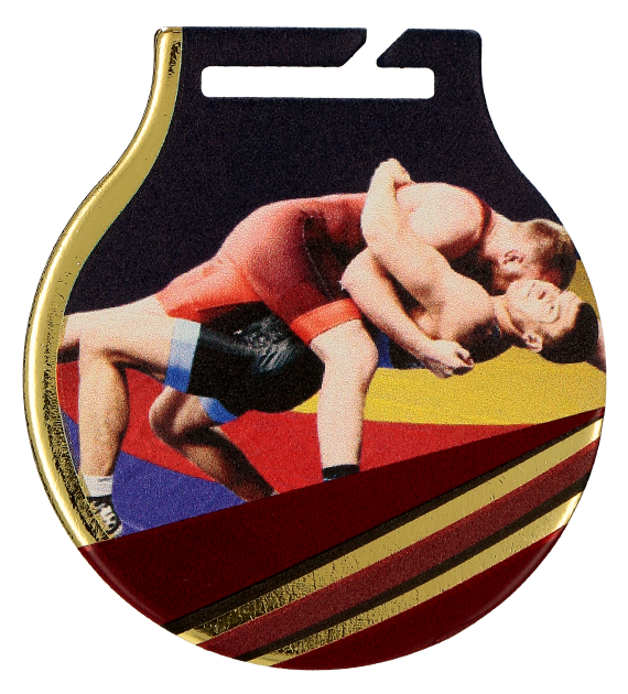 Steel medals with a colour print - Wrestling MC61/G/WRE 1