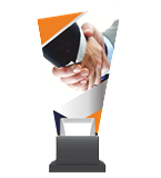 Glass trophy on a plastic base - hand shake CG02C/HUG 3