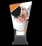 Glass trophy on a plastic base - hand shake CG02 HUG 1