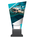 Glass trophy on a plastic base - swimming CG02 SWI 1