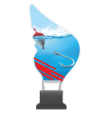 Plexiglass trophy on a plastic base - fishing CP01/FIS 1
