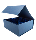 Navy blue presentation box with satin padding H293 1