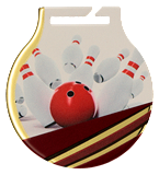 Steel medals with a colour print - Bowling  MC61/G/BOW 1