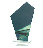 Glass trophy with colorful print QG06 1