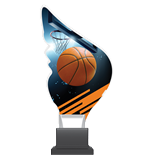 Plexiglass trophy on a plastic base - basketball CP01/BAS 1