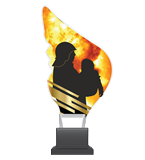Plexiglass trophy on a plastic base - firefighting CP01/FIR 1
