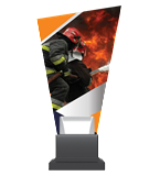 Glass trophy on a plastic base -  firefighting  CG02 FIR 1