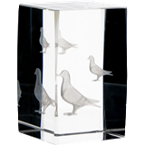 Glass trophy - 3D cube - pigeon KR5080/PON 1