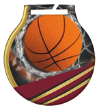 Steel medals with a colour print - Basketball  MC61/G/BAS 1