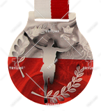 Steel medals with a colour print - Poland running MC6001/G-S/POL3. 1