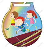 Steel medals with a colour print - Running children MC6001/G-S/KID 1