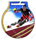 Steel medals with a colour print - Downhil skiing MC6001/G-S/SKI2 1
