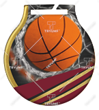 Steel medals with a colour print - Basketball  MC6001/G-S/BAS 1